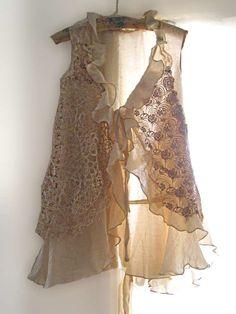 Summer Jacket Long Waistcoat Vest Ruffles by AllThingsPretty, $85.00