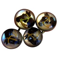 Four Essex Crystal Horse Head Buttons / Cuff Links..
