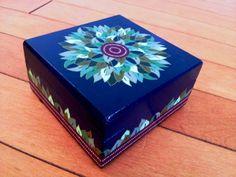 wooden box handmade decorated  foliage mandala por DotsMania, $25.00