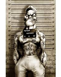 i am what i am by marcus jones tattooed popeye mugshot artwork canvas art print screaming-demons artwork sailor olive-oyl muscle Stretched Canvas Prints, Canvas Art Prints, Popeye Le Marin, Popeye Tattoo, Popeye The Sailor Man, Dope Cartoons, Poster Art, Dark Disney, Lowbrow Art