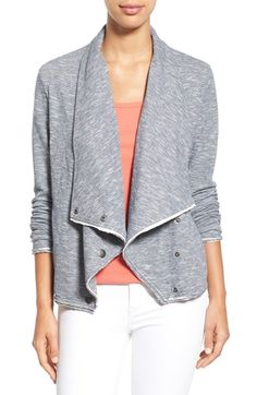 Free shipping and returns on Caslon® Knit Asymmetrical Snap Front Jacket (Regular & Petite) at Nordstrom.com. An asymmetrical closure converts the fluidly draped lapels to a slouchy funnel collar atop a knit jacket with striated patterning. Raw edges at the cuffs, placket and hem reinforce the relaxed attitude.