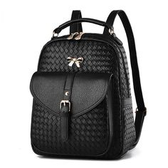 Fashion Pu Leather Knitting Pattern School Backpack For Teenager Girl  Backpack 2017, Ladies Backpack, 4913cd262c
