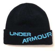LikeNew UNDER ARMOUR CUFFED BEANIE Black Teal Blue Winter Knit Ski Hat Men/Women #Underarmour #Beanie