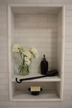 shower niche with shelf, pencil tile trim