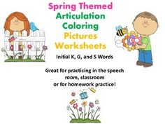 Free! Spring Themed Articulation Coloring Work Sheets for Speech