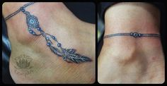Nice Anklet With Evil Eye Talisman Tattoo On Ankle Armband Tattoos, Ems Tattoos, Anklet Tattoos, Tattoo Bracelet, Feather Tattoos, Body Art Tattoos, Hand Tattoos, Small Tattoos, Tattoos For Guys