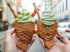 Los taiyaki son unos pasteles japoneses con forma de pez que acaban de aterrizar en Nueva York reconvertidos en conos de helado...