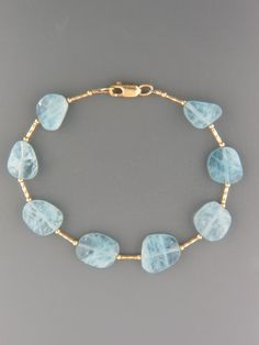 Aquamarine Bracelet - irregular facets stones with twist beads
