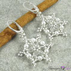 Kolczyki Beaded - Snowflakes by Tarragon Art  #handmade #rękodzieło #beading