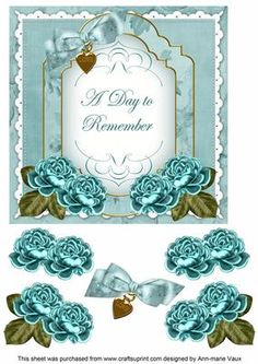 DTeal Rose Date to Remember Fancy 7in Decoupage Topper on Craftsuprint - Add To Basket!