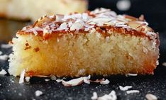 The best basbousa recipe you will find! An Egyptian almond-coconut semolina cake, drenched in cinnamon syrup. Basbousa Cake Recipe, Basboosa Recipe, Easy Pastry Recipes, Bakery Recipes, Cooking Recipes, Marzipan Recipe, Egyptian Food, Egyptian Recipes, Semolina Cake
