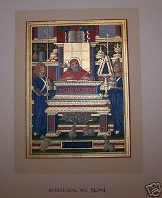 Medieval Illuminated Manuscript Color Gold Catholic Jesus Lithograph Print Hours