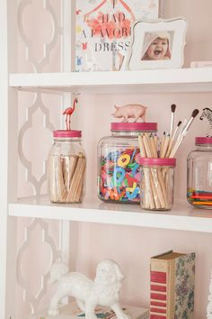 eclectic kids by Caitlin Wilson  Storage ideas ~ reuse jars to store craft supplies