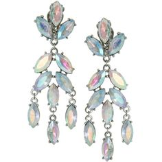 ASOS Snowdrop Earrings ($23) ❤ liked on Polyvore featuring jewelry, earrings, accessories, crystal, statement earrings, iridescent earrings, clip earrings, silver tone earrings and asos
