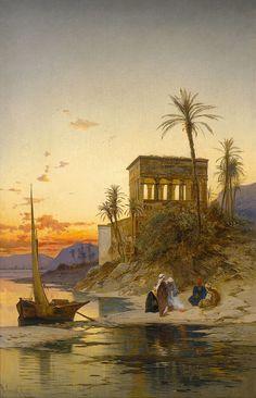Hermann David Salomon Corrodi (Italian, 1844-1905). Le Kiosque de Trajan au bord du Nil, Egypte
