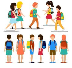 Kids going to school. Human Icons. $5.00