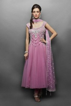 6d0da9900a7 Zaralane.com - Pink Net Anarkali with silver embroidery- Front Designer  Suits Online