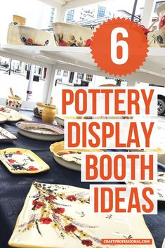 Here's how to display pottery at a craft show. 6 photos give you plenty of ideas for your own portable craft fair booth. #craftshow #craftfairdisplay #craftprofessional Vendor Displays, Craft Fair Displays, Store Displays, Display Ideas, Selling Crafts Online, Craft Online, Craft Show Booths, Portable Display, Vendor Events