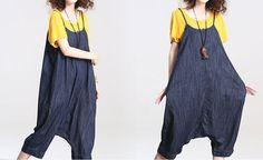cotton Loose fitting Harem pants large size denim Bib by MaLieb