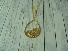 Ketten lang - Geometrische, lange Kette: Tropfen Boho vergoldet - ein Designerstück von buntezeiten bei DaWanda