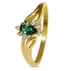 Etsy NissoniJewelry presents - .06CTTW Diamond with Created Emerald in 10k Yellow Gold Fashion Ring    Model Number:FR8627A-Y077CEM    https://www.etsy.com/ru/listing/275587314/06cttw-diamond-with-created-emerald-in
