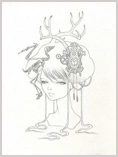 Untitled - graphite on paper 'Smitten' @ Thinkspace Gallery 2007 (jg) © Audrey Kawasaki 2004 – 2013 Audrey Kawasaki, Mark Ryden, Pop Surrealism, Silhouette, Female Art, Coloring Pages, Adult Coloring, Coloring Books, New Art