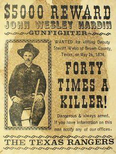 John Wesley Hardin REWARD Poster at Circle KB.com All Western Cowboy