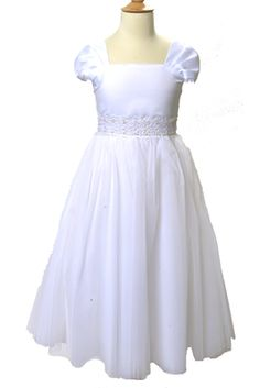Lovely short sleeve dress with a long, full tulle skirt and a square neckline. Flower detailing at the waist with beads and sequins. Ties in the back. Made in the USA. Your little girl