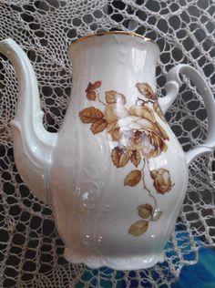 BERNADOTTE Czech Republic Vintage Brown Rose Pitcher / Coffee Pot/ Hot Chocolate