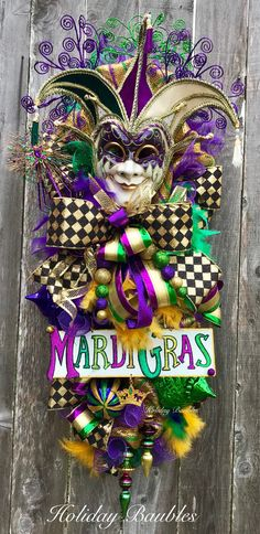 Your place to buy and sell all things handmade Mardi Gras Wreath, Mardi Gras Decorations, Mardi Gras Party, Glitter Ornaments, Carnival Masks, Wedding Prep, Trendy Tree, Mesh Wreaths, Deco Mesh
