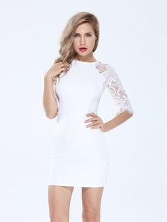 Bodycon Back Zipper Hollow Out Lace Stitching Slim Half Sleeve Dress