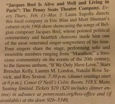 Ooh la la! Thanks, Ann Arbor Observer for this Jacques Brel coverage - we open February 11 at Conor O'Neill's. Get your tickets at www.pennyseats.org  See you there! :)