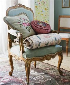 Pretty chair for a guest room! Plus extra blanket & pillows for your guests...