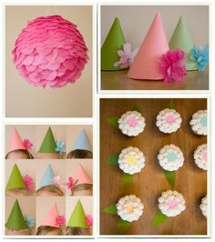 String along party hats to hang for decor