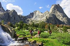 Backpackers out enjoying the weather and trails at Wind River Range in Wyoming.