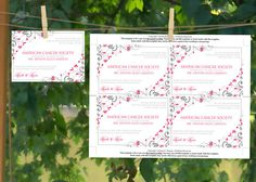 Instantly download and print your own wedding favor donation cards with this downloadable favor card template in a beautiful fuchsia & pewter