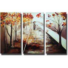 Add a romantic touch to your space with this hand-painted canvas art set. 'A Walk in the Rain' depicts two figures walking down a glistening pathway amid autumnal trees. Hang this oversized art set in a living room or bedroom for depth and character.