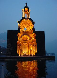 Lugano. switzerland - Model of the Church of San Carlo Alle Quattro Fontane in Rome -
