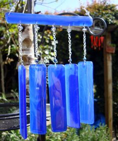 Wind chime blue glass suncatching hanging home by GeckoGlassDesign, $59.00