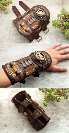 Bracelete de couro estilo steampunk Design Steampunk, Arte Steampunk, Style Steampunk, Steampunk Fashion, Fashion Goth, Gothic Steampunk, Victorian Gothic, Gothic Lolita, Steampunk Watch