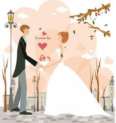 Coleção de vetores gratuitos sobre casamentos. Com vetores de noivos, alianças, etc.