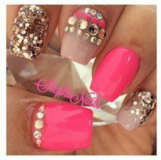 Pink and tan Rhinestones Nails