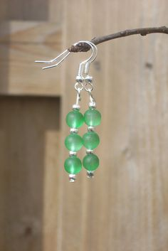 Green Earrings Bead Earrings Handmade Dangle by TwiggyPeasticks