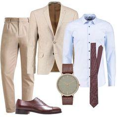 Look adatto ad una cerimonia di giorno o per l'ufficio. Ho abbinato un pantalone beige ad una giacca color burro, camicia celeste e cravatta bordeaux. Scarpa classica marrone e orologio.