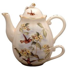 Hummingbird Gold Teapot for One