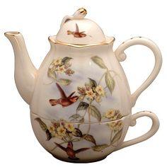 Hummingbird Gold Teapot for One