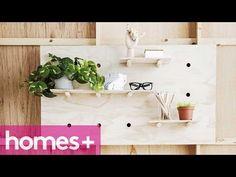 DIY: Minimal Plywood Pegboard Shelf - homes+ - YouTube