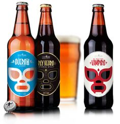 Awesome luchra libre inspired beer labels for a Mexican brewery, Cervecería Sagrada.