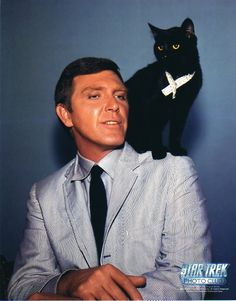 #Sixties | Robert Lansing as Gary Seven and his cat, Isis, in the Star Trek episode, Assignment: Earth