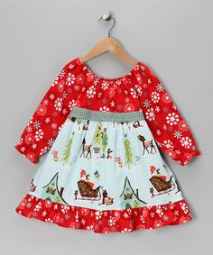 Take a look at this Red Winter Wonderland Pattycake Dress - Toddler & Girls by Beary Basics on #zulily today!